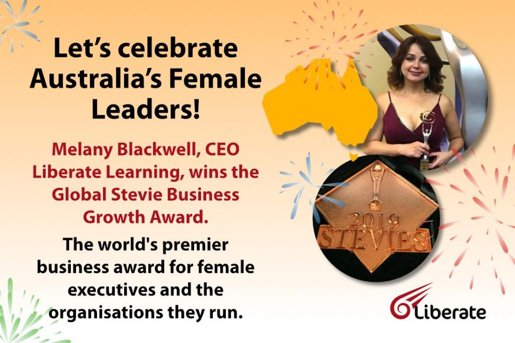 Liberate Learning CEO Melany Blackwell accepting the Global Stevie Business Growth Award in 2019