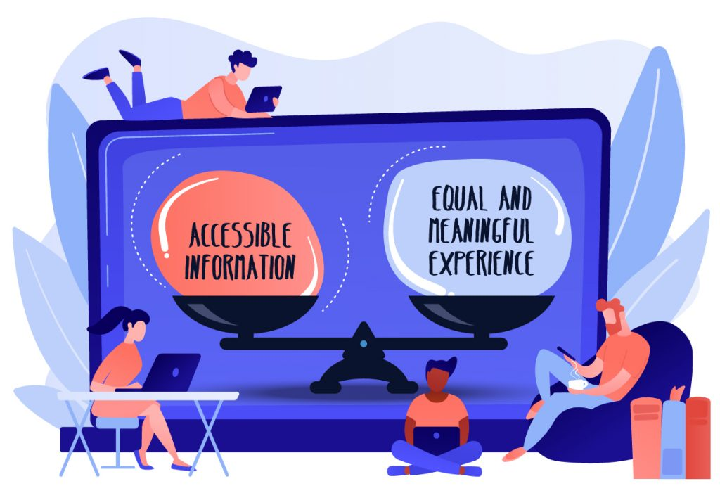 illustration shows balance between accessibility and equal experience