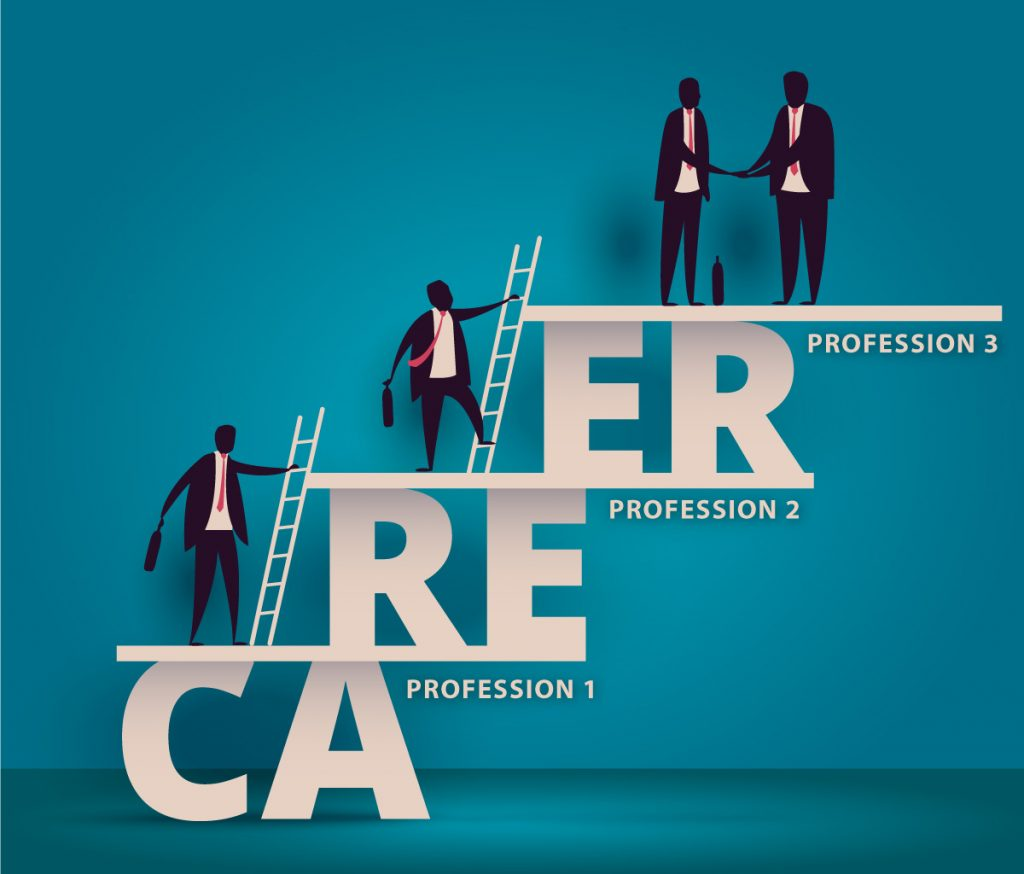 Illustration shows people climbing a career ladder between different professions, with a career learning portfolio in their hand.