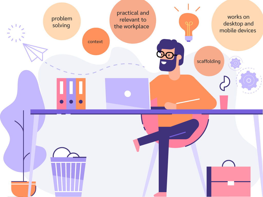 illustration of eLearning designer thinking about success factors of good eLearning design