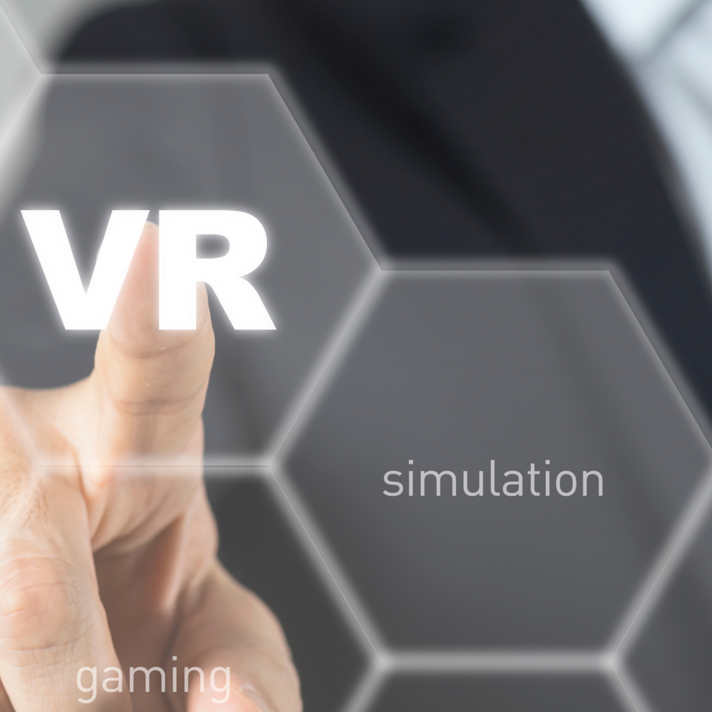 Image of finger pressingVR button on interactive technology screen